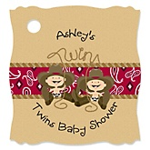 Twin Little Cowboys - Personalized Baby Shower Tags - 20 Count