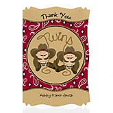 Twin Little Cowboys - Western Personalized Baby Shower Thank You Cards