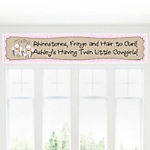 Twin Little Cowgirls - Western Personalized Baby Shower Banner