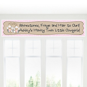 Twin Little Cowgirls - Western Personalized Baby Shower Banners