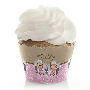 Twin Little Cowgirls - Western Baby Shower Cupcake Wrappers & Decorations