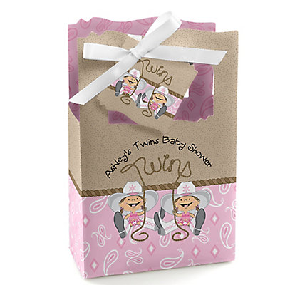 Twin Little Cowgirls - Western Personalized Baby Shower Favo...