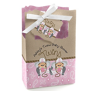 Twin Little Cowgirls - Western Personalized Baby Shower Favor Boxes