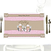 Twin Little Cowgirls - Personalized Baby Shower Placemats