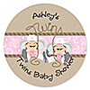 Twin Little Cowgirls - Personalized Baby Shower Sticker Labels - 24 ct
