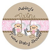 Twin Little Cowgirls - Personalized Baby Shower Round Sticker Labels - 24 Count