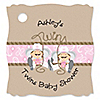 Twin Little Cowgirls - Personalized Baby Shower Tags - 20 ct