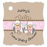 Twin Little Cowgirls - Personalized Baby Shower Tags - 20 Count