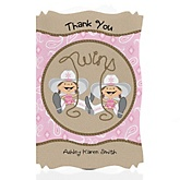 Twin Little Cowgirls - Western Personalized Baby Shower Thank You Cards