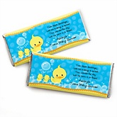 Twin Ducky Ducks - Personalized Baby Shower Candy Bar Wrapper Favors