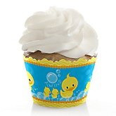 Twin Ducky Ducks - Baby Shower Cupcake Wrappers & Decorations
