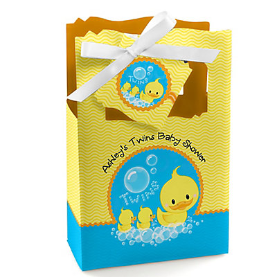 Twin Ducky Ducks - Personalized Baby Shower Favor Boxes...