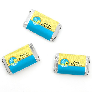 Twin Ducky Ducks - Personalized Baby Shower Mini Candy Bar Wrapper Favors - 20 ct
