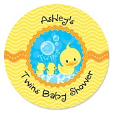 Twin Ducky Ducks - Personalized Baby Shower Round Sticker Labels - 24 Count