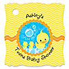 Twin Ducky Ducks - Personalized Baby Shower Tags - 20 ct
