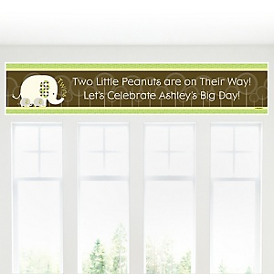 Twin Baby Elephants - Personalized Baby Shower Banners