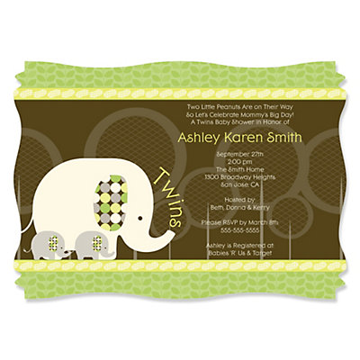 Twin Baby Elephants - Personalized Baby Shower Invitations Baby Shower Party Supplies