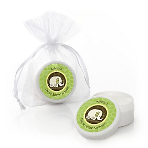 Twin Baby Elephants - Personalized Baby Shower Lip Balm Favors