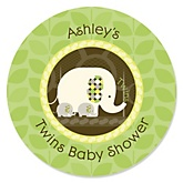 Twin Baby Elephants - Personalized Baby Shower Round Sticker Labels - 24 Count