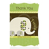 Twin Baby Elephants - Personalized Baby Shower Thank You Cards