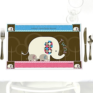 Twin Baby Elephants 1 Blue & 1 Pink  - Personalized Baby Shower Placemats