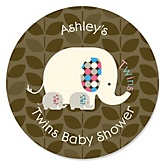 Twin Baby Elephants 1 Blue & 1 Pink - Personalized Baby Shower Sticker Labels - 24 ct