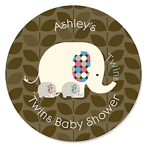 Twin Baby Elephants 1 Blue & 1 Pink - Personalized Baby Shower Round Sticker Labels - 24 Count