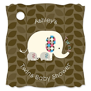Twin Baby Elephants 1 Blue & 1 Pink - Personalized Baby Shower Tags - 20 Count