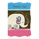 Twin Baby Elephants 1 Blue & 1 Pink - Personalized Baby Shower Thank You Cards