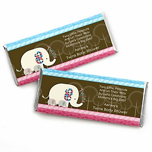 Twin Baby Elephants 1 Blue & 1 Pink - Personalized Baby Shower Candy Bar Wrapper