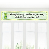 Twin Froggy Frogs - Personalized Baby Shower Banner