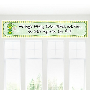 Twin Froggy Frogs - Personalized Baby Shower Banners