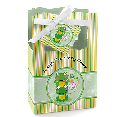 Twin Froggy Frogs - Personalized Baby Shower Favor Boxes...