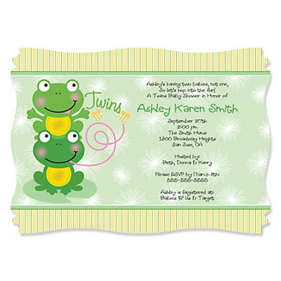 twin froggy frogs - personalized baby shower invitations, Baby shower invitations