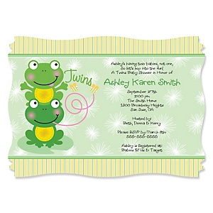 Twin Froggy Frogs - Personalized Baby Shower Invitations