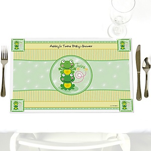 Twin Froggy Frogs - Personalized Baby Shower Placemats