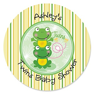 Twin Froggy Frogs - Personalized Baby Shower Round Sticker Labels - 24 Count