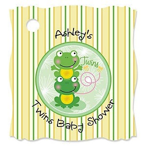 Twin Froggy Frogs   - Personalized Baby Shower Tags - 20 Count