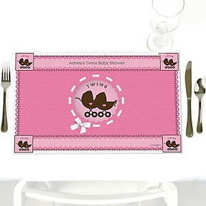 Twin Girl Baby Carriages - Personalized Baby Shower Placemats