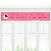 Twin Girl Baby Carriages - Personalized Baby Shower Banner
