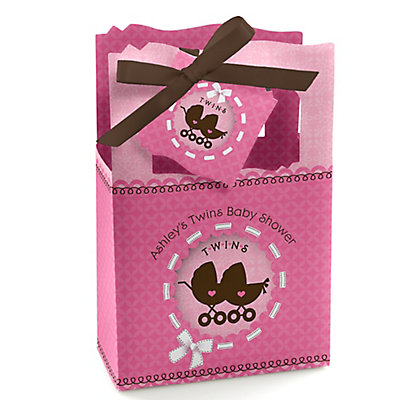 Twin Girl Baby Carriages - Personalized Baby Shower Favor Bo...