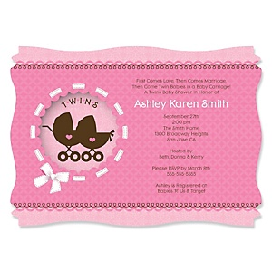 Twin Girl Baby Carriages - Baby Shower Invitations