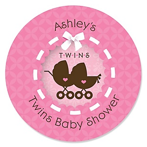 Twin Girl Baby Carriages - Personalized Baby Shower Round Sticker Labels - 24 Count