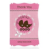 Twin Girl Baby Carriages - Personalized Baby Shower Thank You Cards