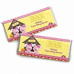 Twin Girl Puppy Dogs - Personalized Baby Shower Candy Bar Wrapper