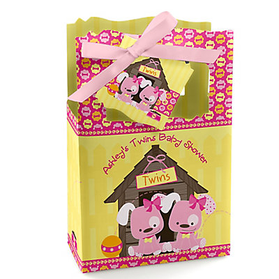 Twin Girl Puppy Dogs - Personalized Baby Shower Favor Boxes...