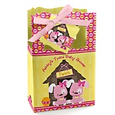 Twin Girl Puppy Dogs - Personalized Baby Shower Favor Boxes