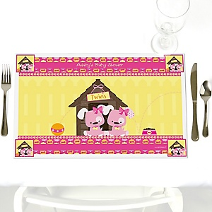Twin Girl Puppy Dogs - Personalized Baby Shower Placemats