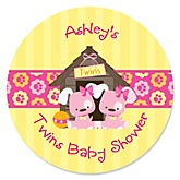 Twin Girl Puppy Dogs - Personalized Baby Shower Round Sticker Labels - 24 Count