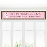 Mommy Silhouette It's Twin Girls - Personalized Baby Shower Banner